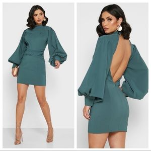NEW Lavish Alice Green Balloon Sleeve Mini Dress